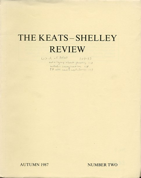 Image for The Keats-Shelley Review, Number 2