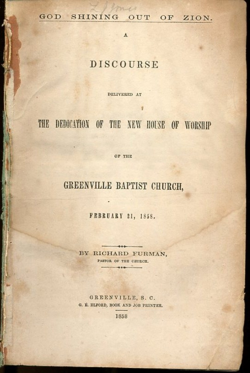 Image for God Shining Out of Zion: A Discourse Delivered at the Dedication of the New House of Worship of the Greenville Baptist Church, February 21, 1858