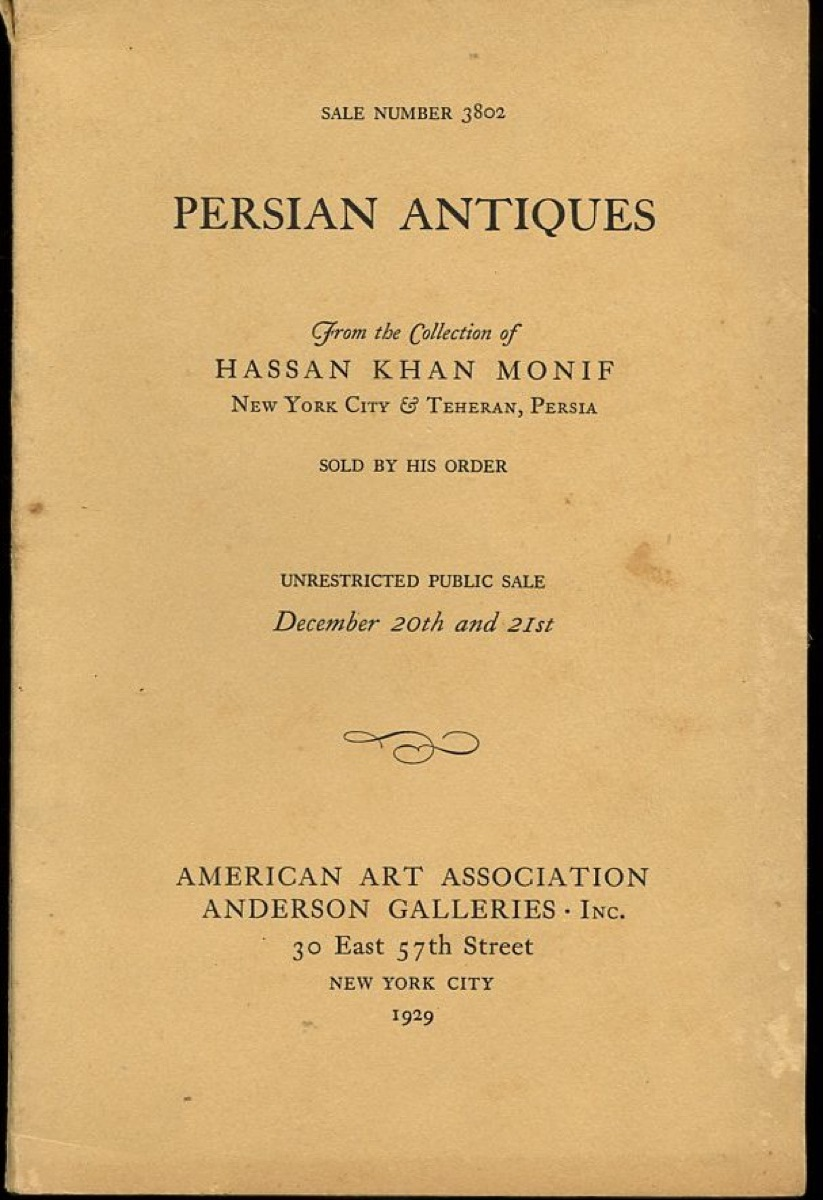 Image for Persian Antiques Sale 3802 from the Collection of Hassan Khan Monif New York City & Teheran, Persia