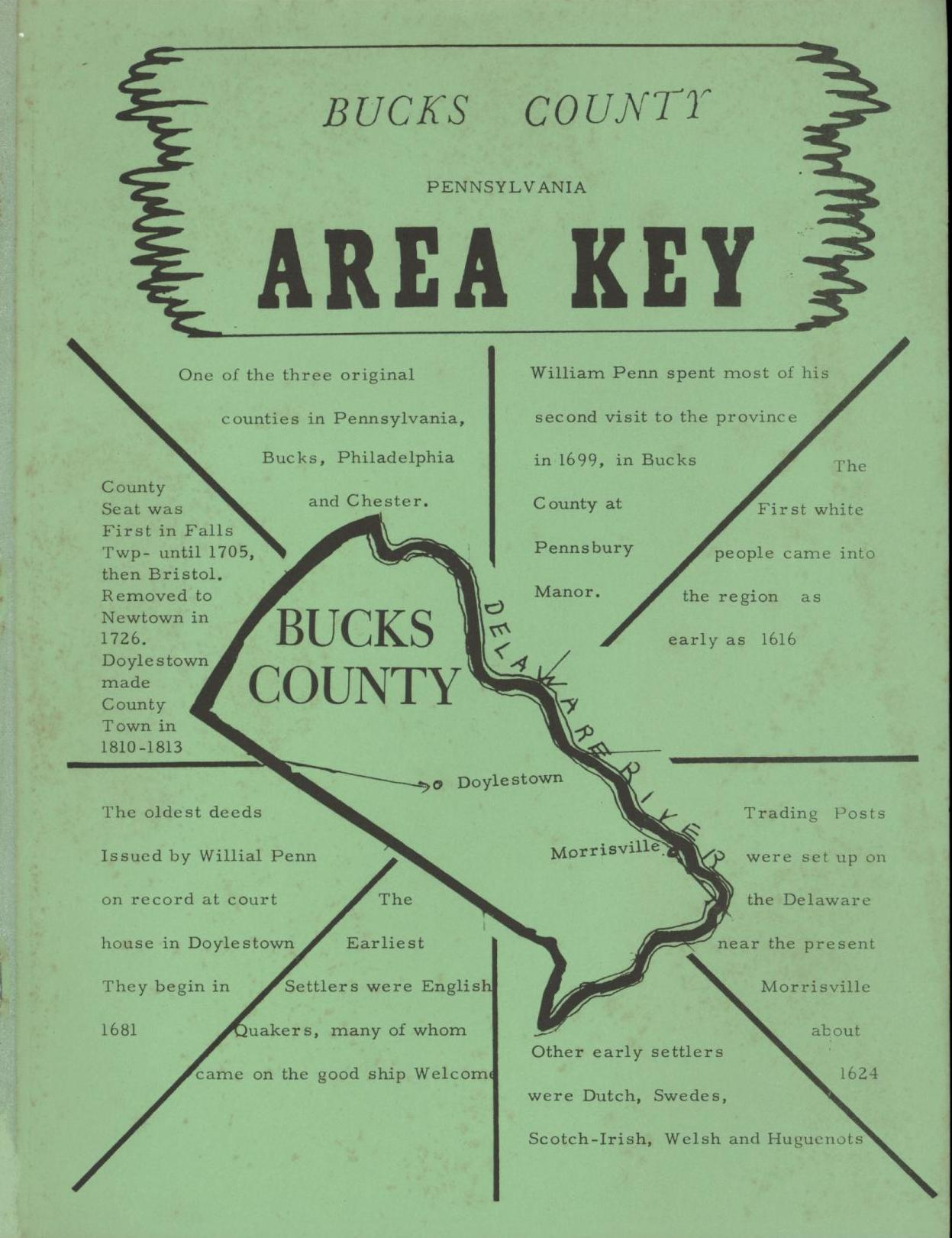 Image for Bucks County Pennsylvania Area Key: A Guide to the Genealogical Records of Bucks County, Pennsylvania, including Maps, Charts, and Other Helpful Materials