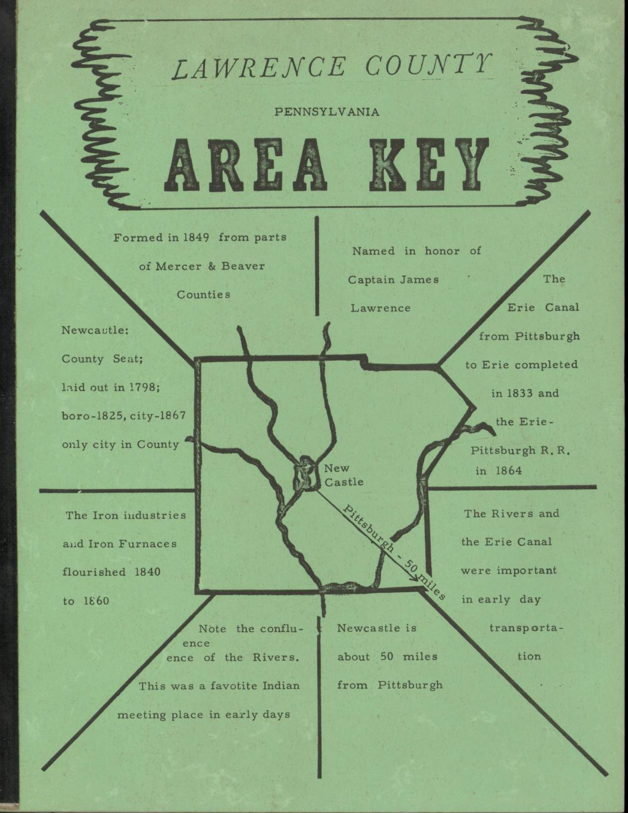 Image for Lawrence County Pennsylvania Area Key: A Guide to the Genealogical Records of Lawrence County, Pennsylvania, including Maps, Histories, Charts, and Other Helpful Materials