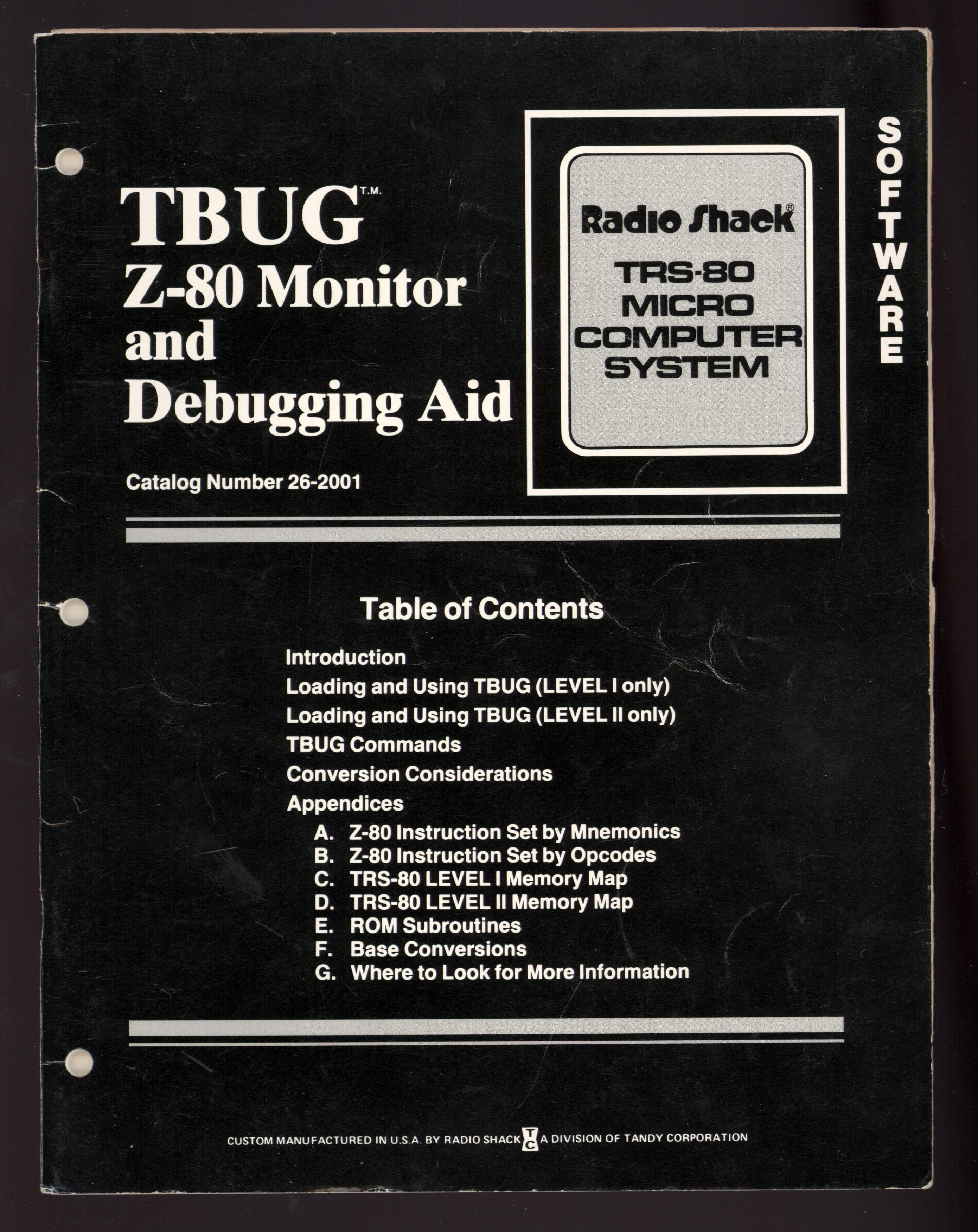 Image for TBUG Z-80 Monitor and Debugging Aid Catalog Number 26-2001 (Radio Shack TRS-80 Micro Computer System) FIRST EDITION