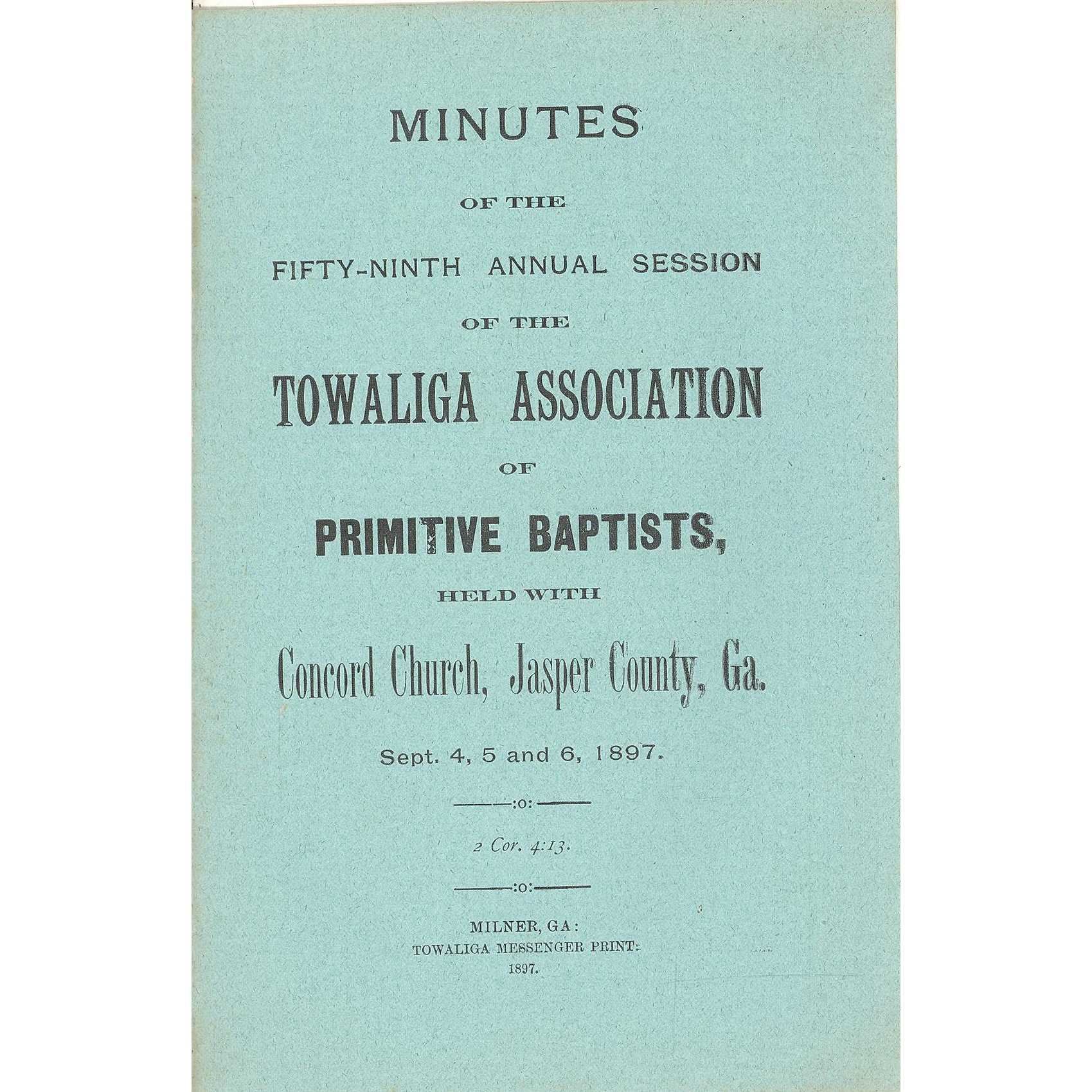 Image for New London Baptist Association, Minutes of the Thirty-Third Anniversary