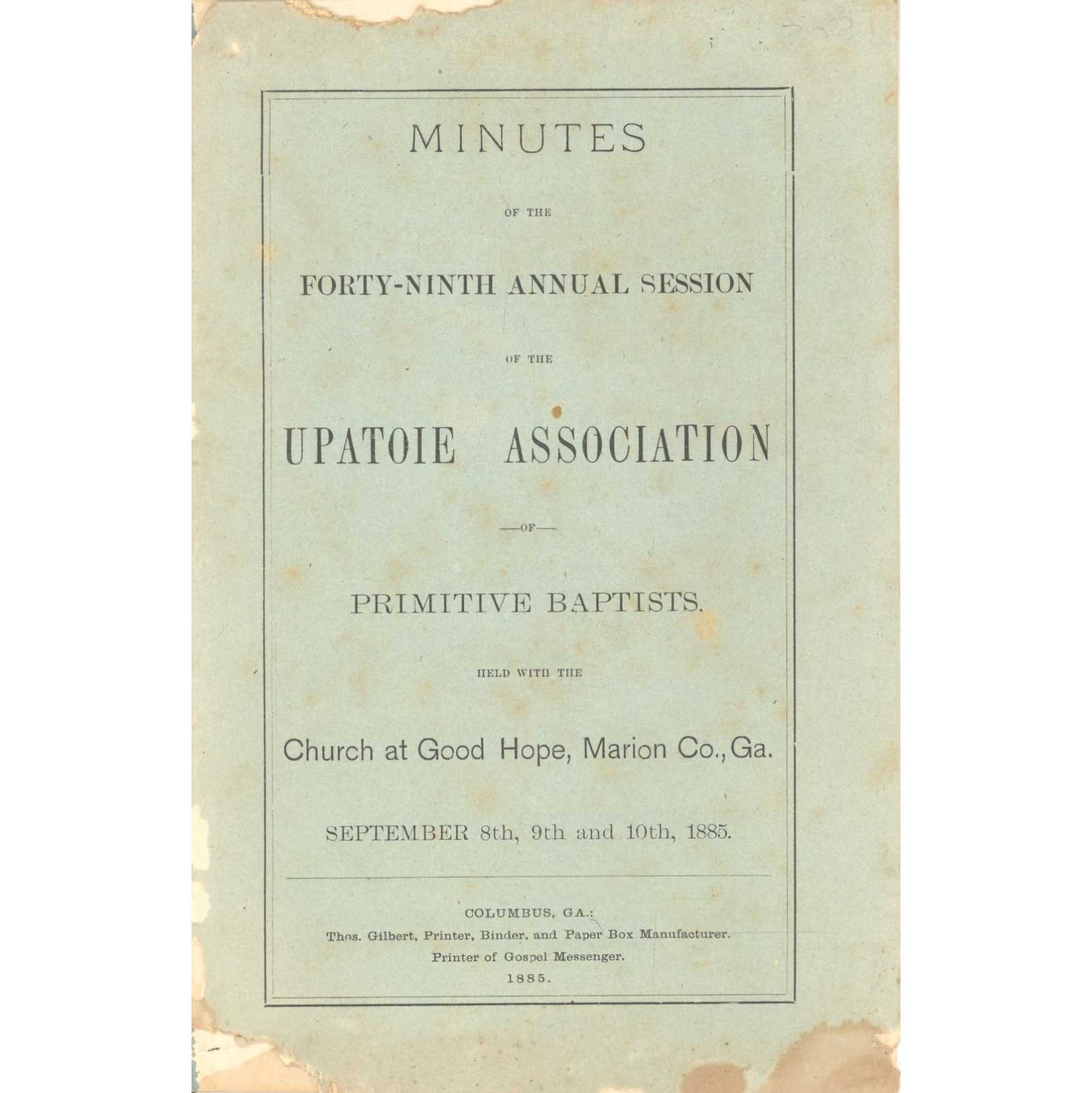 Image for Beaulah Primitive Baptist Association, Minutes of the Forty-Sixth Annual Session