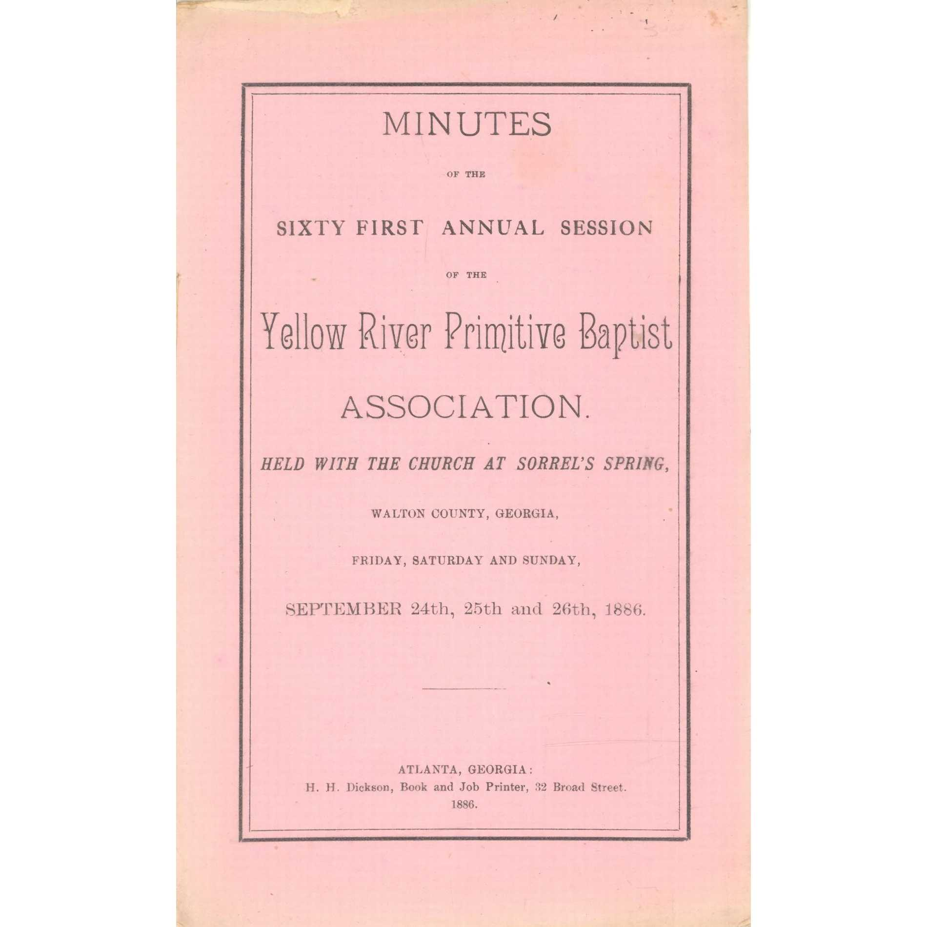 Image for Brushy Creek Union of Primitive Baptists, Minutes of the Twenty-Fourth Annual Session