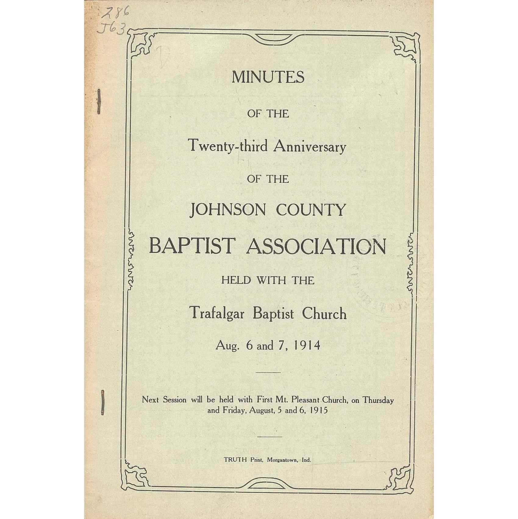 Image for Harmony Primitive Baptist Association, Minutes of the Sixty-Fourth Annual Session