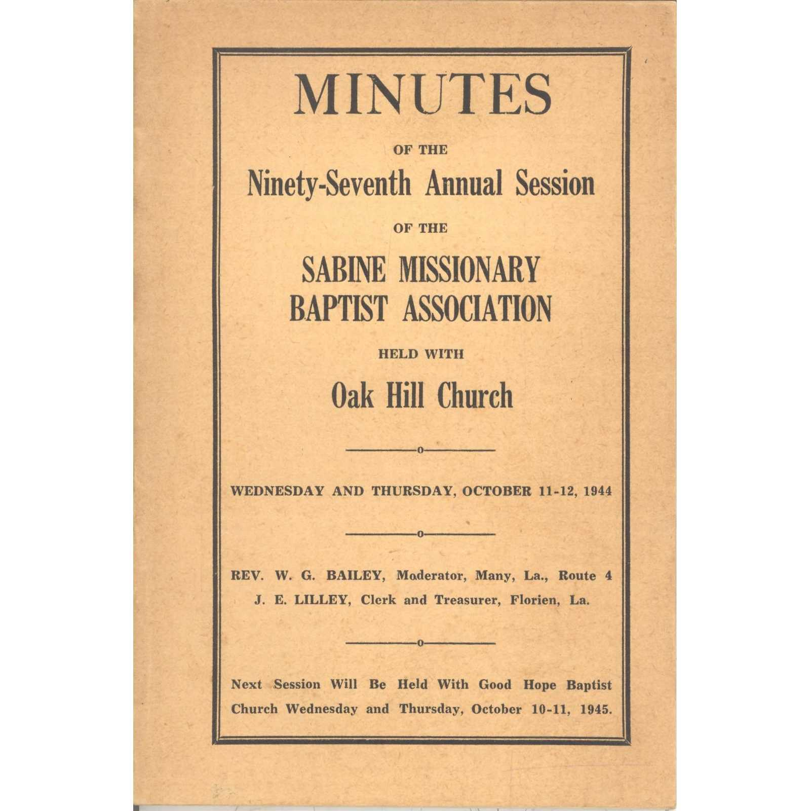 Image for Lower Canoochee (Primitive Baptist) Association, Minutes of the Seventy-Sixth Annual Session