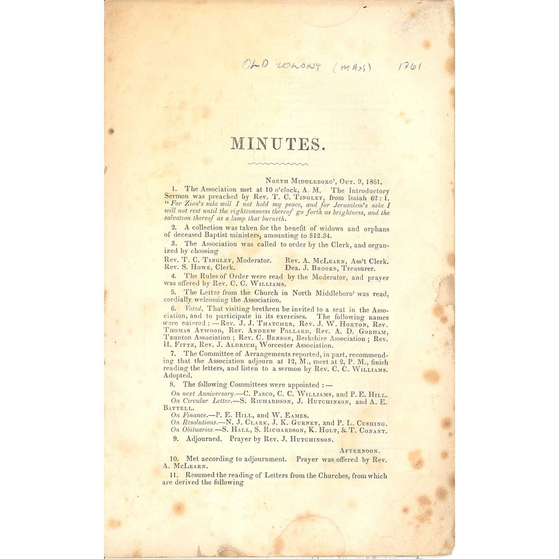 Image for Primitive Ebenezer (Baptist) Association, Minutes of the 123rd Annual Session