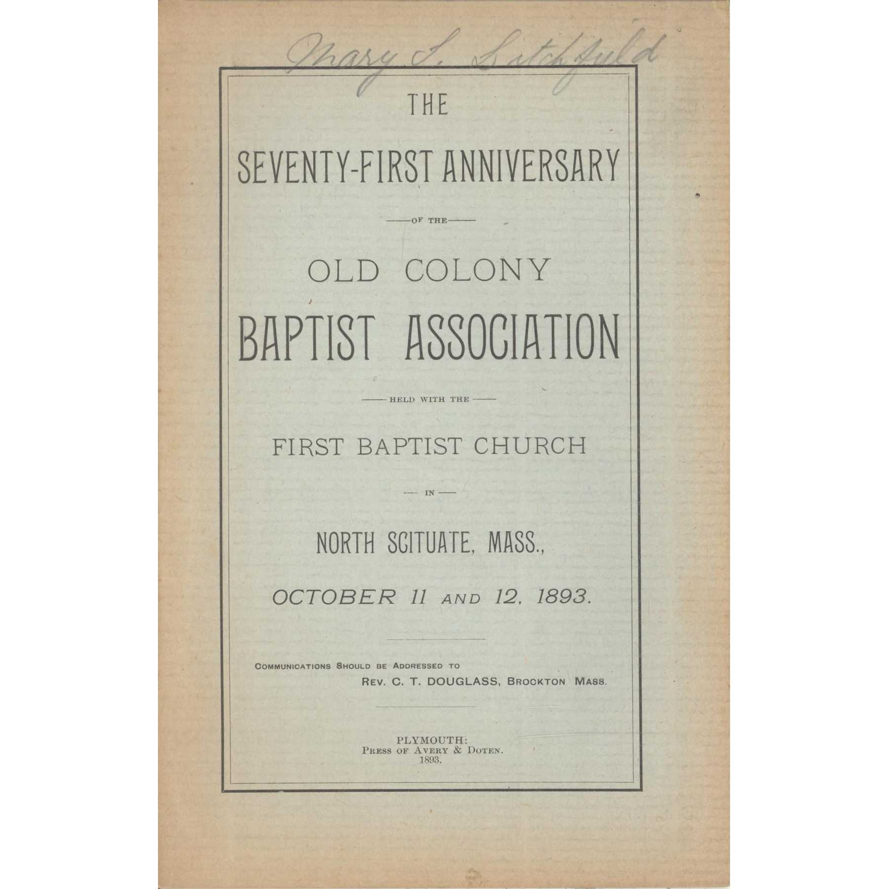 Image for Sarepta Baptist Association, Minutes of the Centennial Session