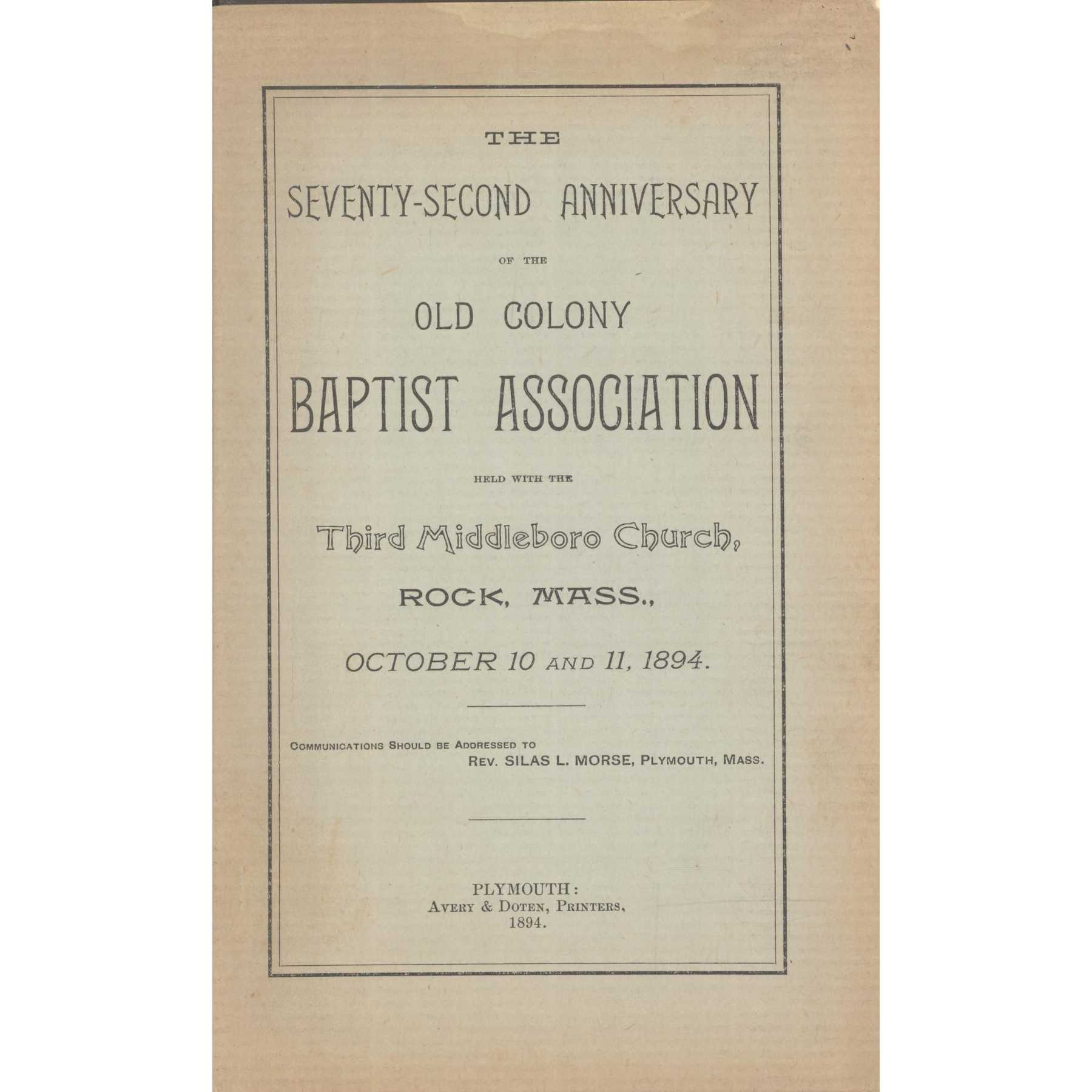 Image for Sarepta Baptist Association, Minutes of the One Hundred and Fifteenth Session